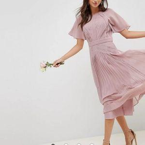 NWT ASOS Midi Navy Lace & Sheer Panel Pleat Dress